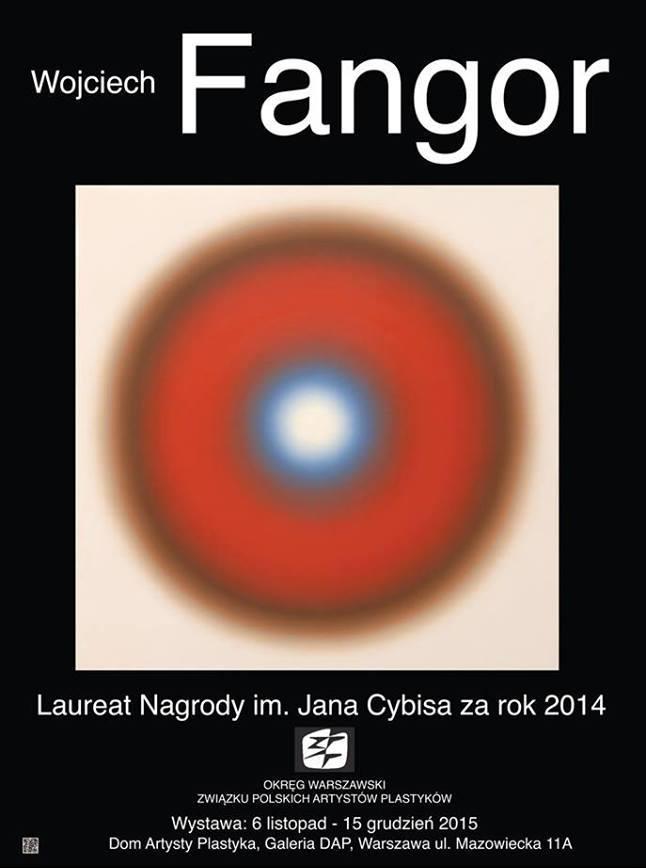 """""""Wojciech Fangor – Laureat nagrody J. Cybisa za rok 2014"""" –plakat (źródło: materiały prasowe)"""