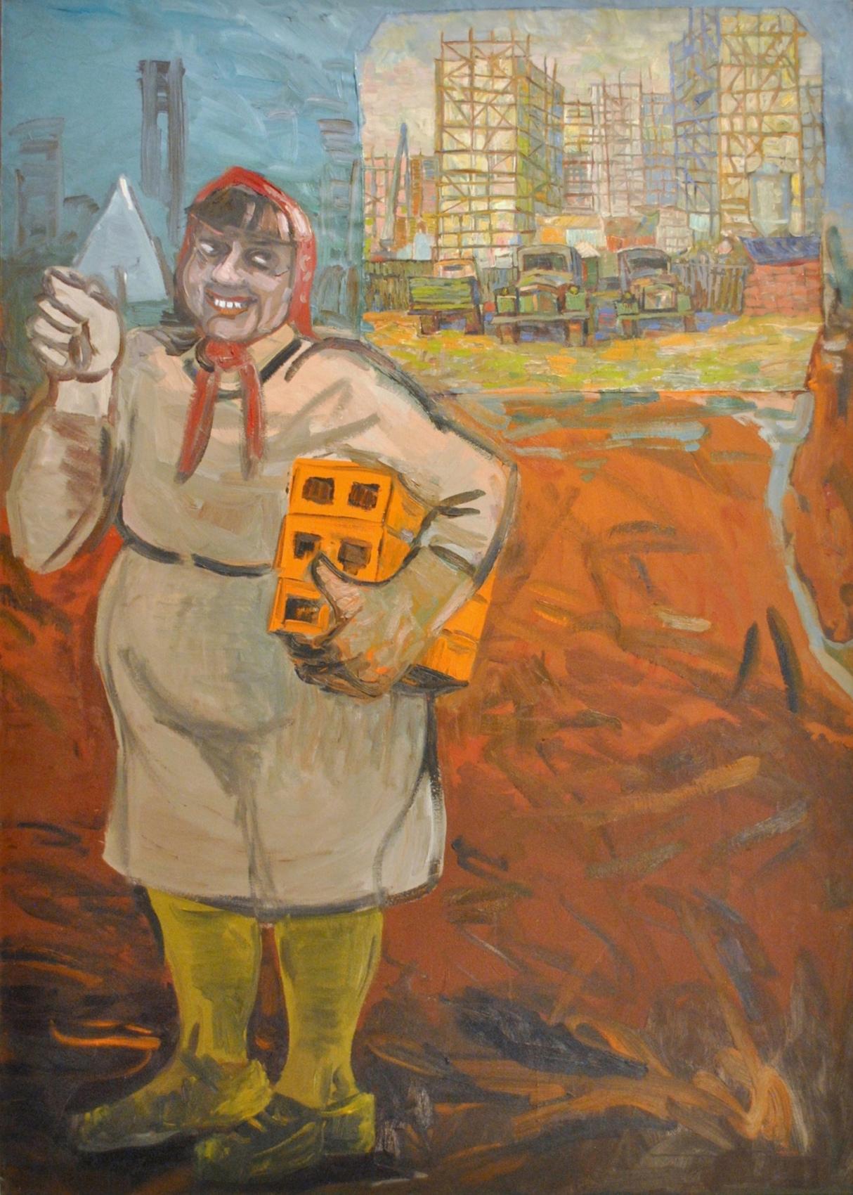 """Edward Dwurnik, """"Szczęśliwa murarka"""", 1988 (źródło: materiały prasowe organizatora)"""