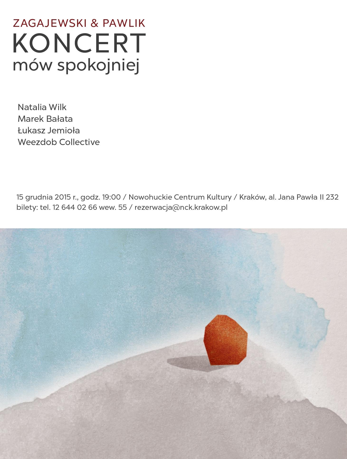 """""""Mów spokojniej"""" Zagajewski & Pawlik − plakat (źródło: materiały prasowe organizatora)"""