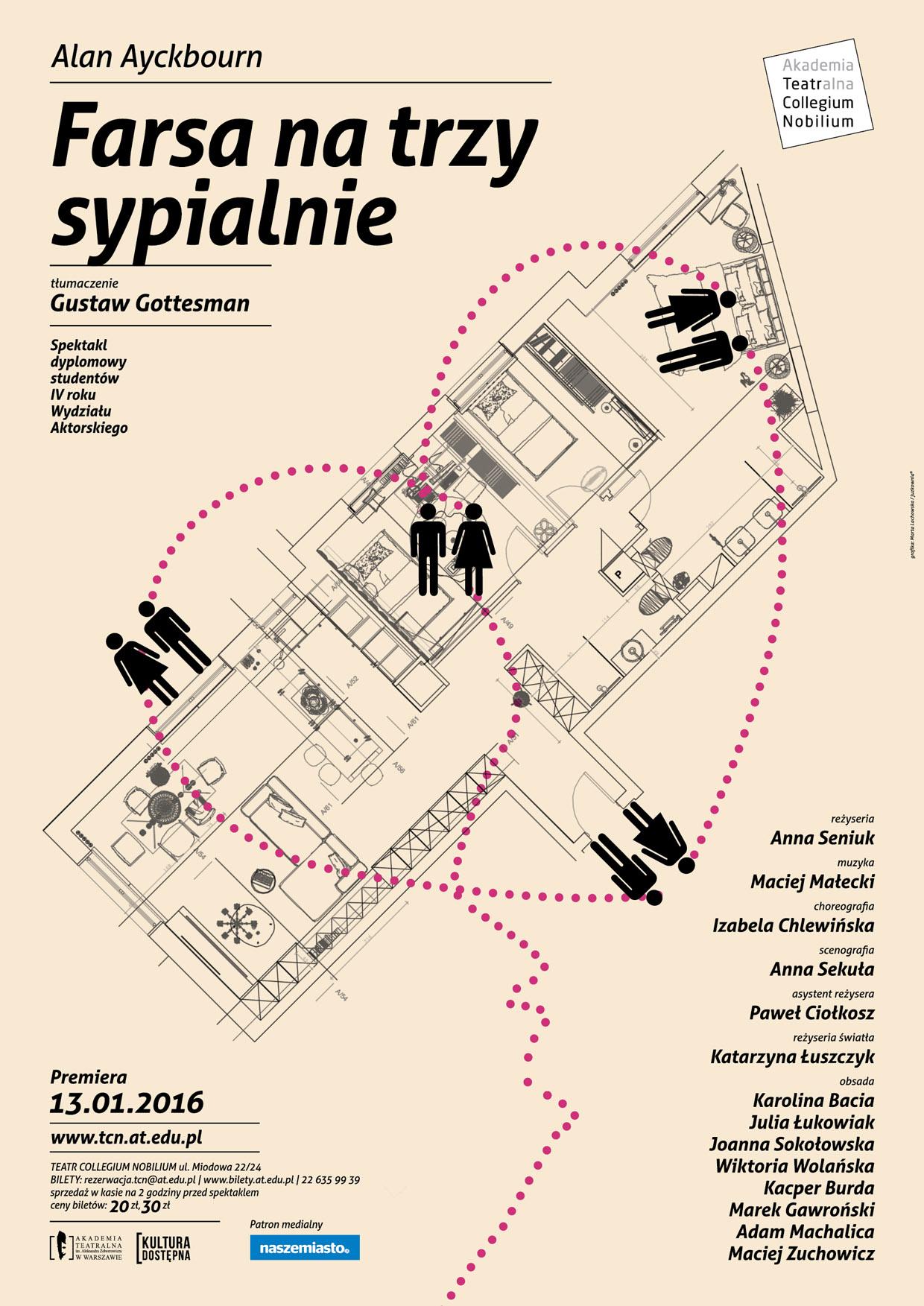 """""""Farsa na trzy sypialnie"""", reż. Anna Seniuk, plakat (źródło: materiały prasowe organizatora)"""