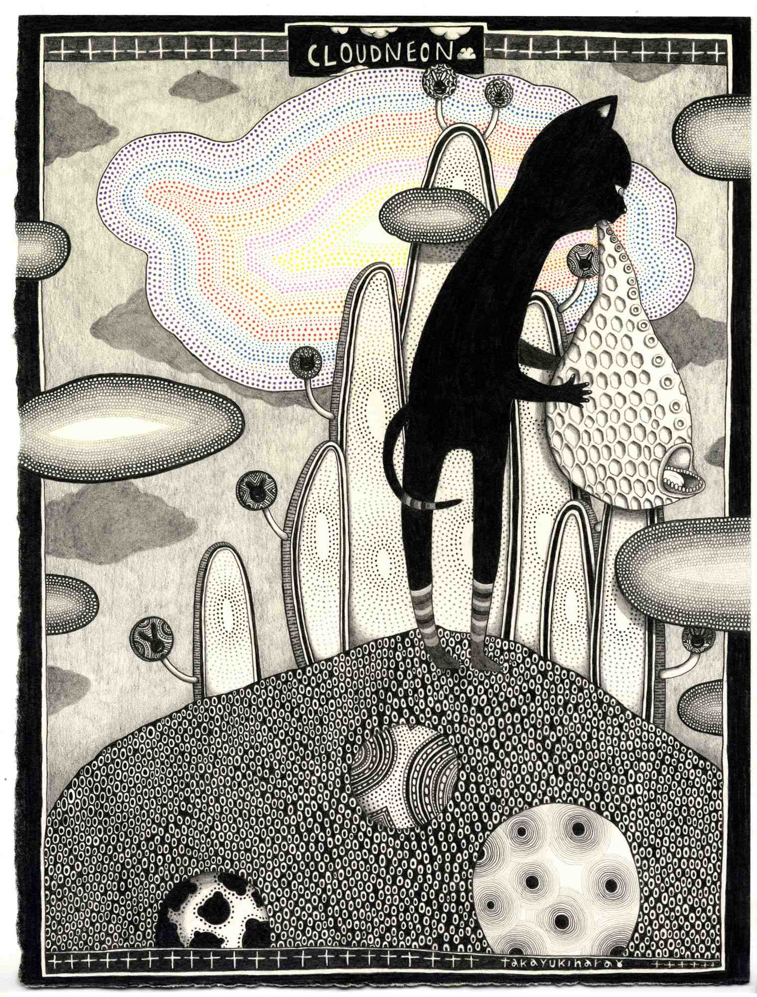 """""""Neonowa chmura"""" / """"Cloudneon"""", 2013, ołówek na papierze / graphite on paper (źródło: materiały prasowe organizatora)"""