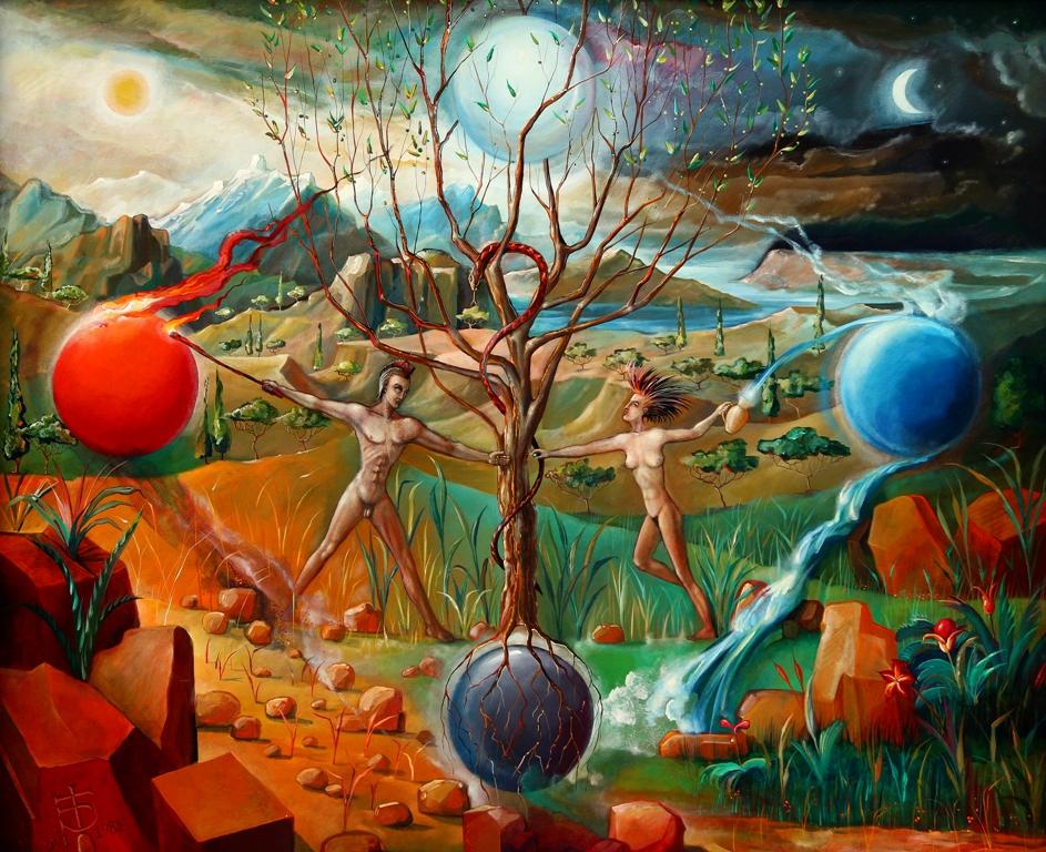 """Henryk Jan Baca, """"DVI – Powietrze i ziemia, ogień i woda, mężczyzna i kobieta"""", 1988 (źródło: materiały prasowe organizatora)"""