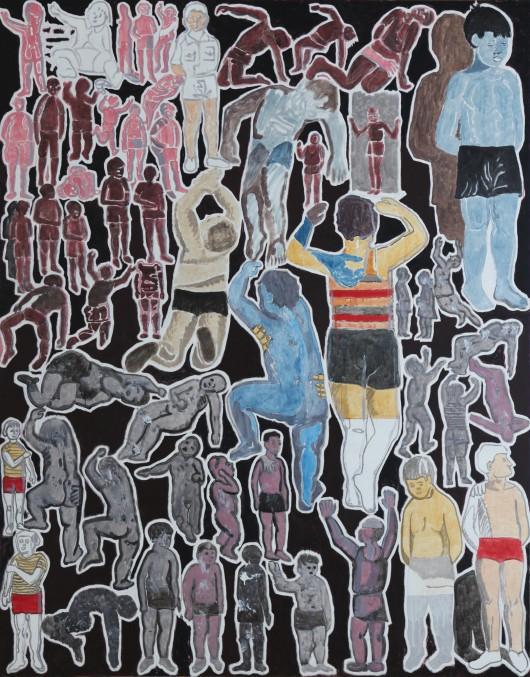 """Marek Sobczyk, """"Co? Chłopiec w gimnastycznych majtkach; Czym? Socrealizacją (Wróblewski)"""", 2015, 230x180cm, tempera jajkowa / płótno (źródło: materiały prasowe organizatora)"""