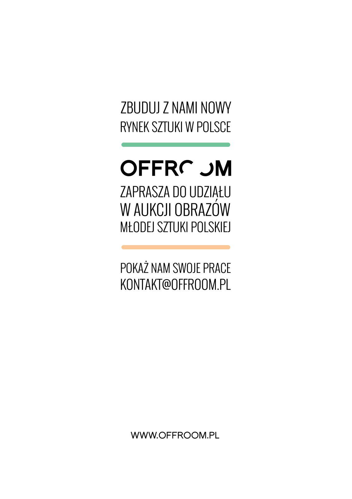 Nabór obrazów młodej sztuki polskiej, Dom Aukcyjny OFFROOM w Warszawie – plakat (źródło: materiały prasowe organizatora)