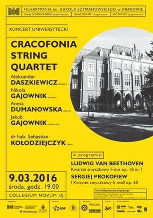 """Cracofonia String Quartet"" – plakat (źródło: materiały prasowe organizatora)"
