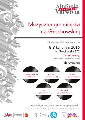 """""""Muzyczna Gra Miejska na Grochowskiej """" – plakat (źródło: materiały prasowe organizatora)"""