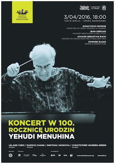 """""""Koncert w 100. rocznicę urodzin Sir Yehudi Menuhina"""" – plakat (źródło: materiały prasowe organizatora)"""