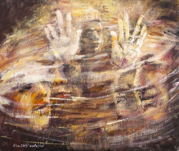 """Mira Żelechower-Aleksiun, """"Z cyklu Rut. Za zasłoną"""", 2015, akryl na płycie, 60 x 70 cm (źródło: materiały prasowe)"""