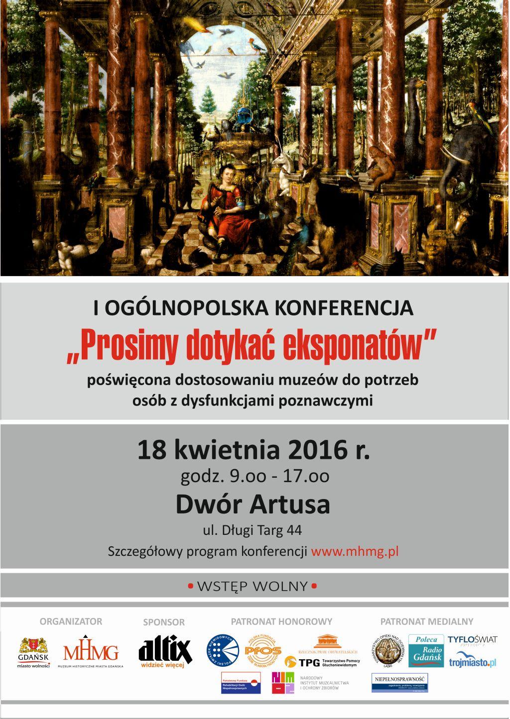 """I Ogólnopolska Konferencja """"Prosimy dotykać eksponatów"""", plakat (źródło: materiały prasowe organizatora)"""