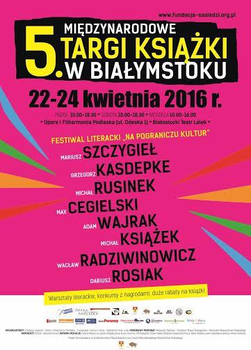 """""""V Międzynarodowe Targi Książki w Białymstoku"""" – plakat (źródło: materiały prasowe organizatora)"""