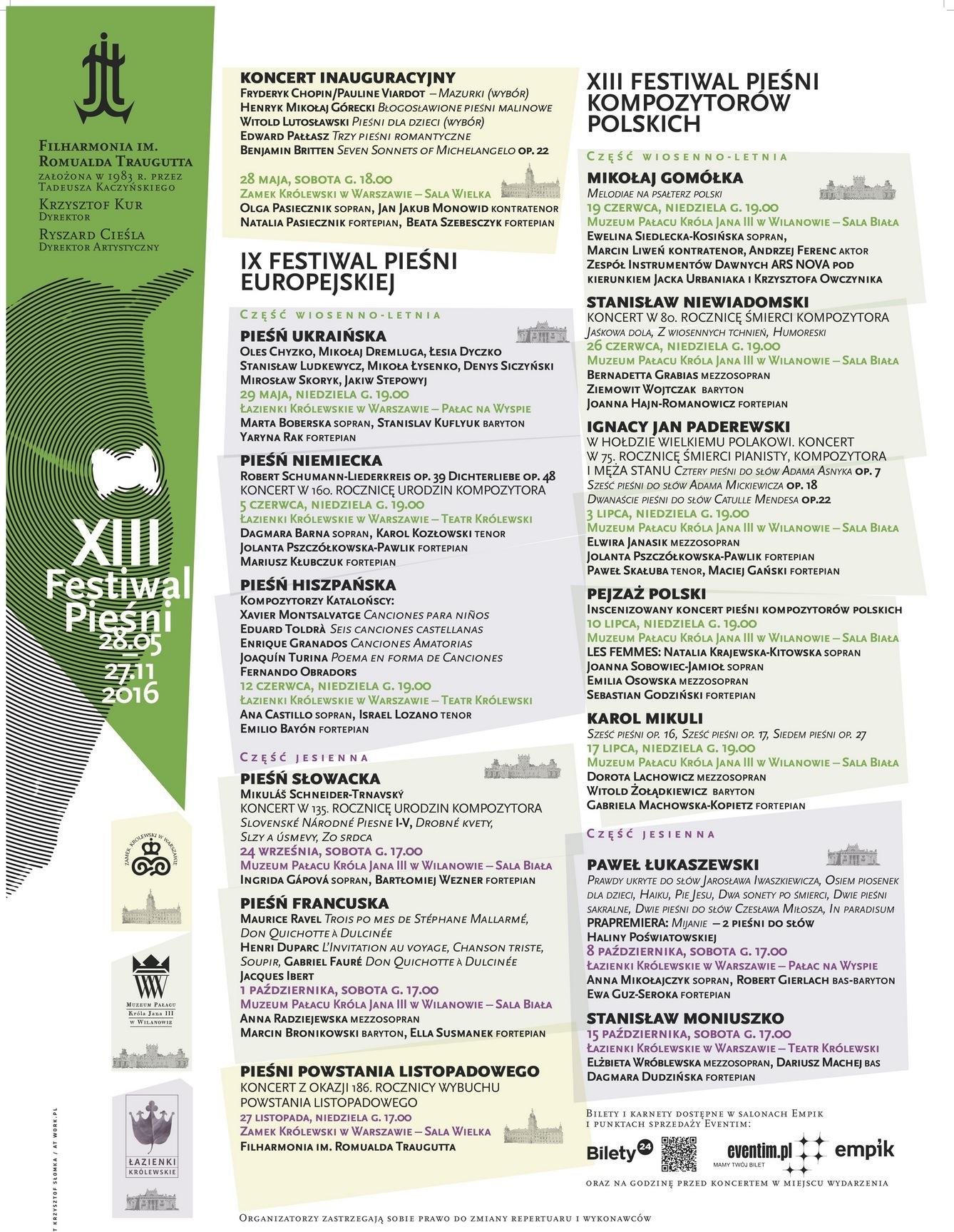 """""""XIII Festiwal Pieśni"""" – afisz (źródło: materiały prasowe organizatora)"""