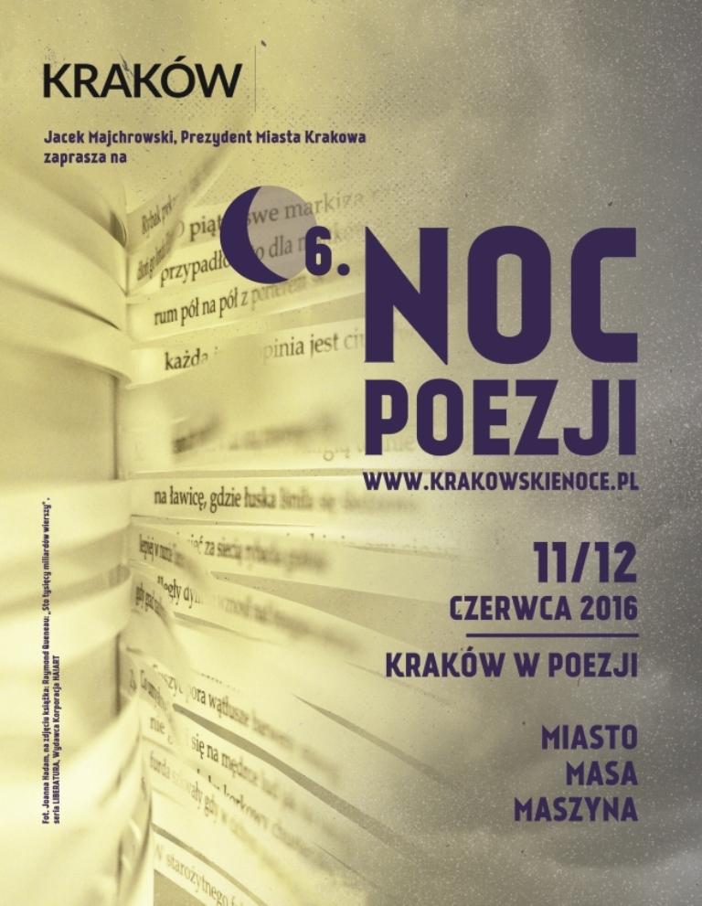 """""""Kraków w poezji: Miasto Masa Maszyna"""" – plakat (źródło; materiały prasowe organizatora)"""