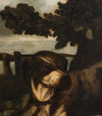 """Gustave Courbet, fragment obrazu """"Psy myśliwskie pod dębem"""" (źródło: materiały prasowe organizatora)"""