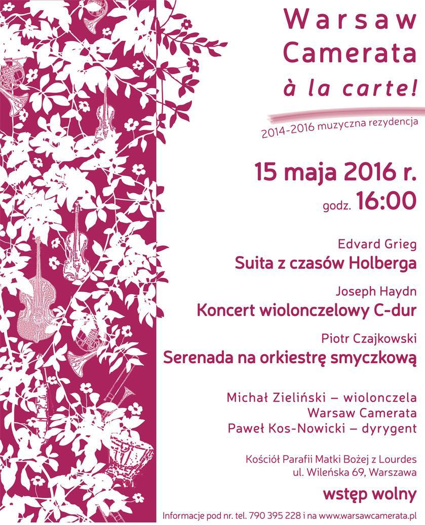 """""""Warsaw Camerata à la carte!"""" – muzyczna rezydencja 2014–2016, plakat (źródło: materiały prasowe organizatora)"""