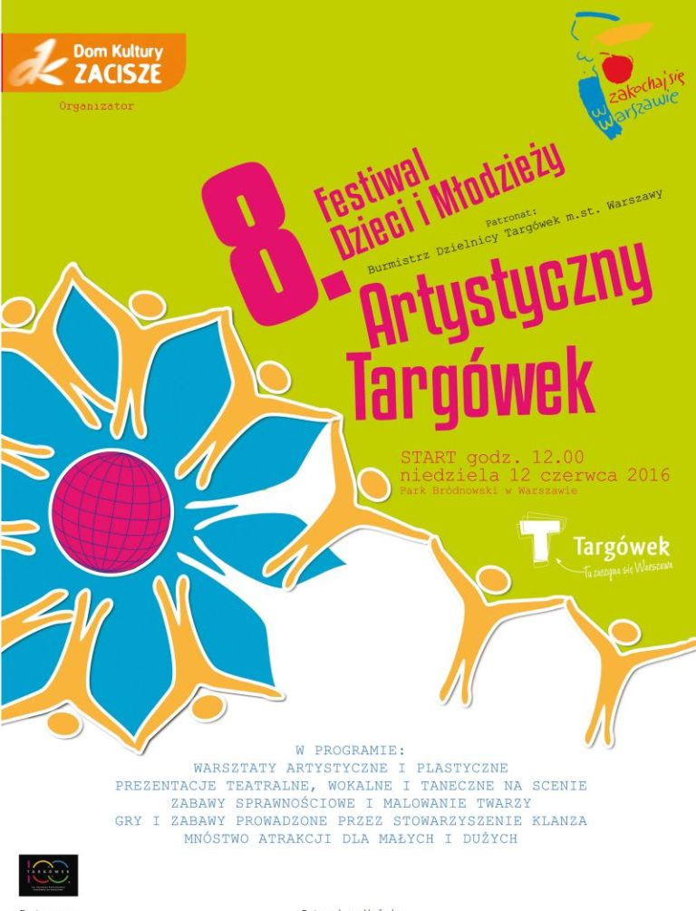 8. Festiwal Dzieci i Młodzieży Artystyczny Targówek – plakat (źródło: materiały prasowe organizatora)
