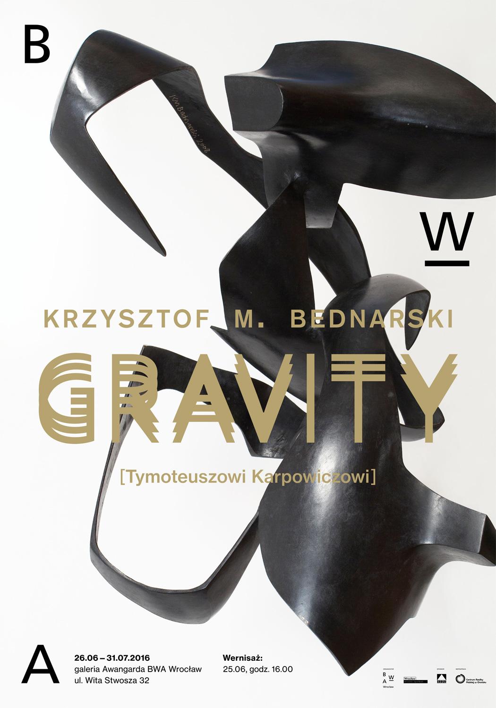 """Krzysztof M. Bednarski, """"Gravity. Tymoteuszowi Karpowiczowi"""" – plakat (źródło: materiały prasowe organizatora)"""