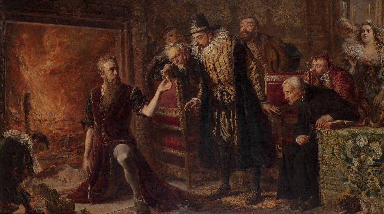 """Jan Matejko, """"Alchemik Sędziwój i król Zygmunt III"""", 1867 (źródło: materiały prasowe organizatora)"""