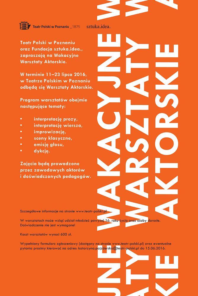 Wakacyjne Warsztaty Aktorskie – plakat (źródło: materiały prasowe organizatora)