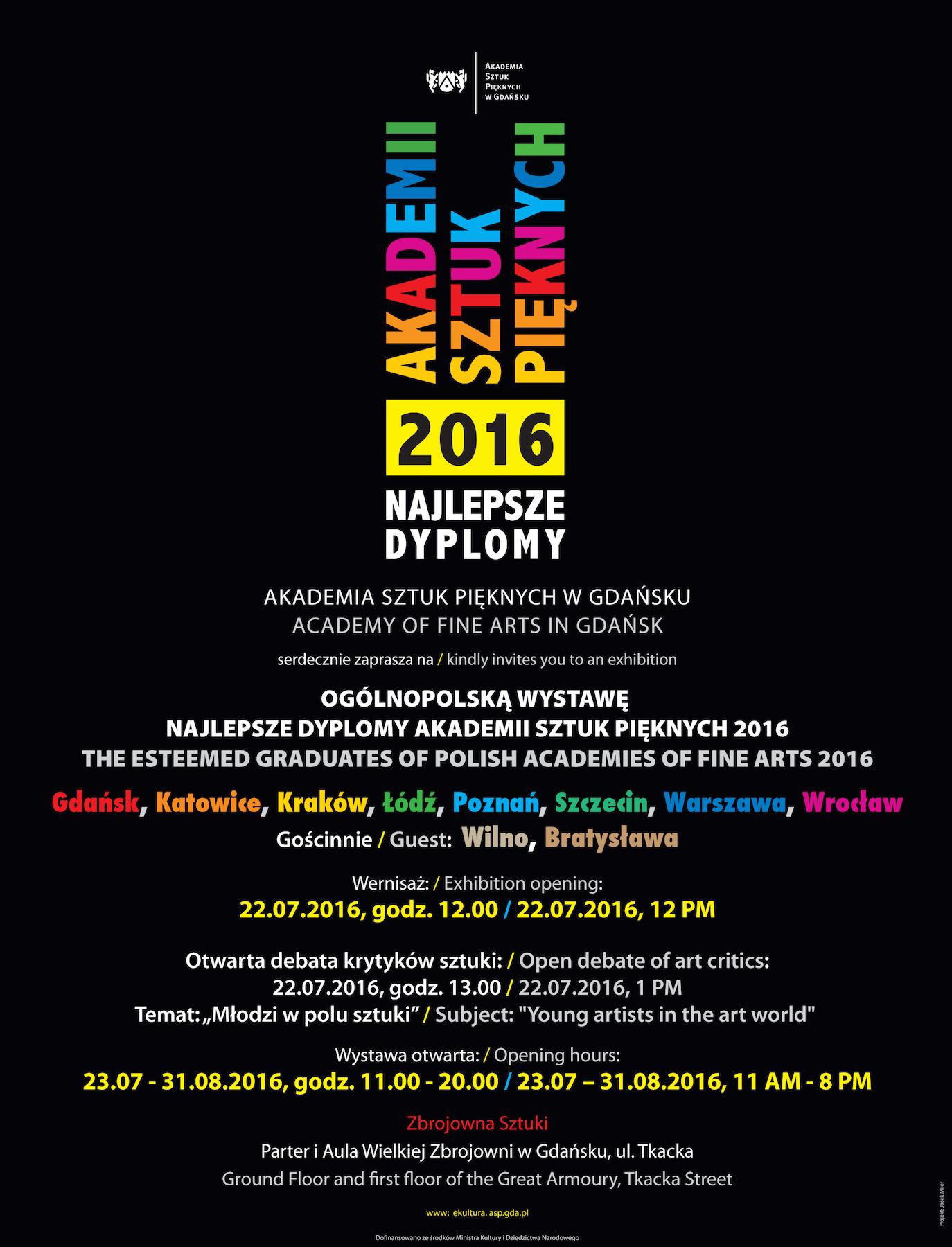 """VIII Ogólnopolska Wystawa """"Najlepsze Dyplomy Akademii Sztuk Pięknych"""" – plakat (źródło: materiały prasowe organizatora)"""