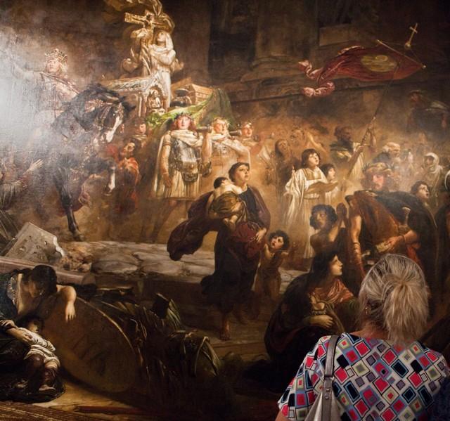 """Wilhelm von Lindenschmit """"Alaryk w Rzymie"""" w trakcie konserwacji (źródło: materiały prasowe organizatora)"""