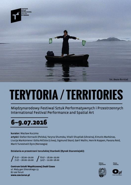 Międzynarodowy Festiwal Sztuk Performatywnych i Przestrzennych Terytoria/Territories – plakat (źródło: materiały prasowe organizatora)