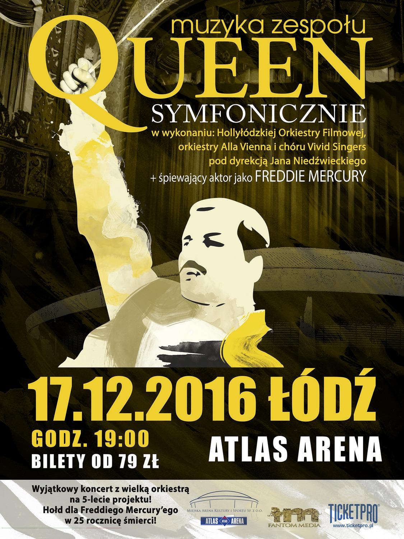 """""""Queen Symfonicznie w Atlas Arenie!"""" – plakat (źródło: materiały prasowe organizatora)"""