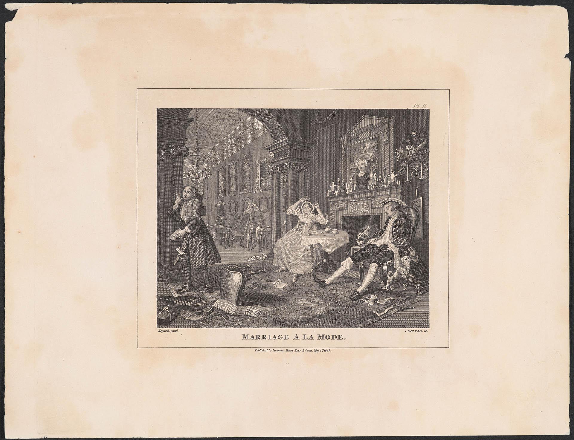 """Thomas Cook (1744-1818) """"Modne małżeństwo. Znudzona para"""" 1808, miedzioryt (źródło: materiały prasowe organizatora)"""