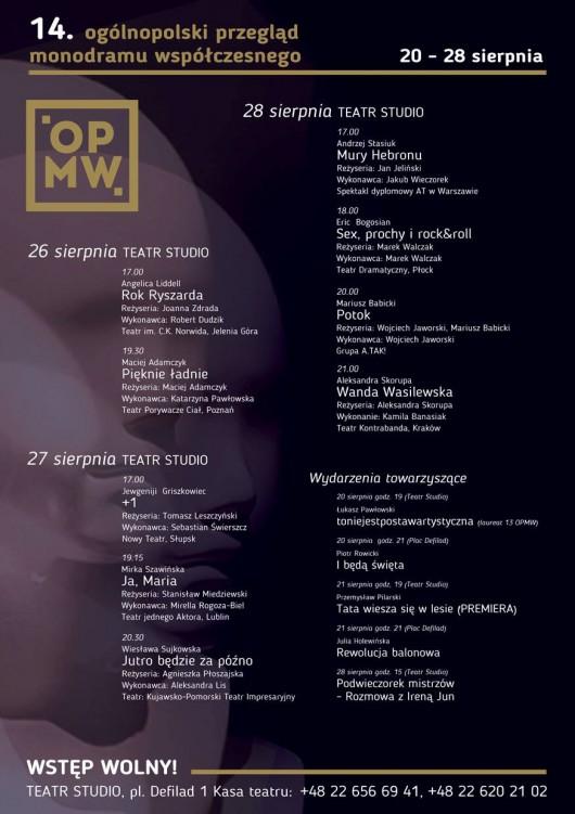 """""""14. Ogólnopolski Przegląd Monodramu Współczesnego"""" – plakat (źródło: materiały prasowe organizatora)"""