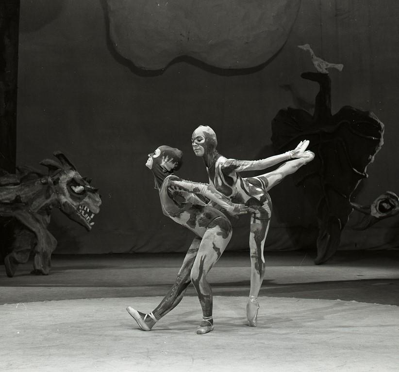 """scena z baletu Prokofiewa """"Piotruś i wilk"""", choreografia - Janina Jarzynówna-Sobczak, scen. Bruno Sobczak (debiut), prem. 10.05.1968, Opera Bałtycka, fot. T. Link (źródło: materiały prasowe organizatora)"""