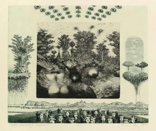 "Brunovsky Albin ""Praise of troubled dreams IV"" akwaforta, mezotinta 1984/1985 (źródło: materiały prasowe organizatora)"
