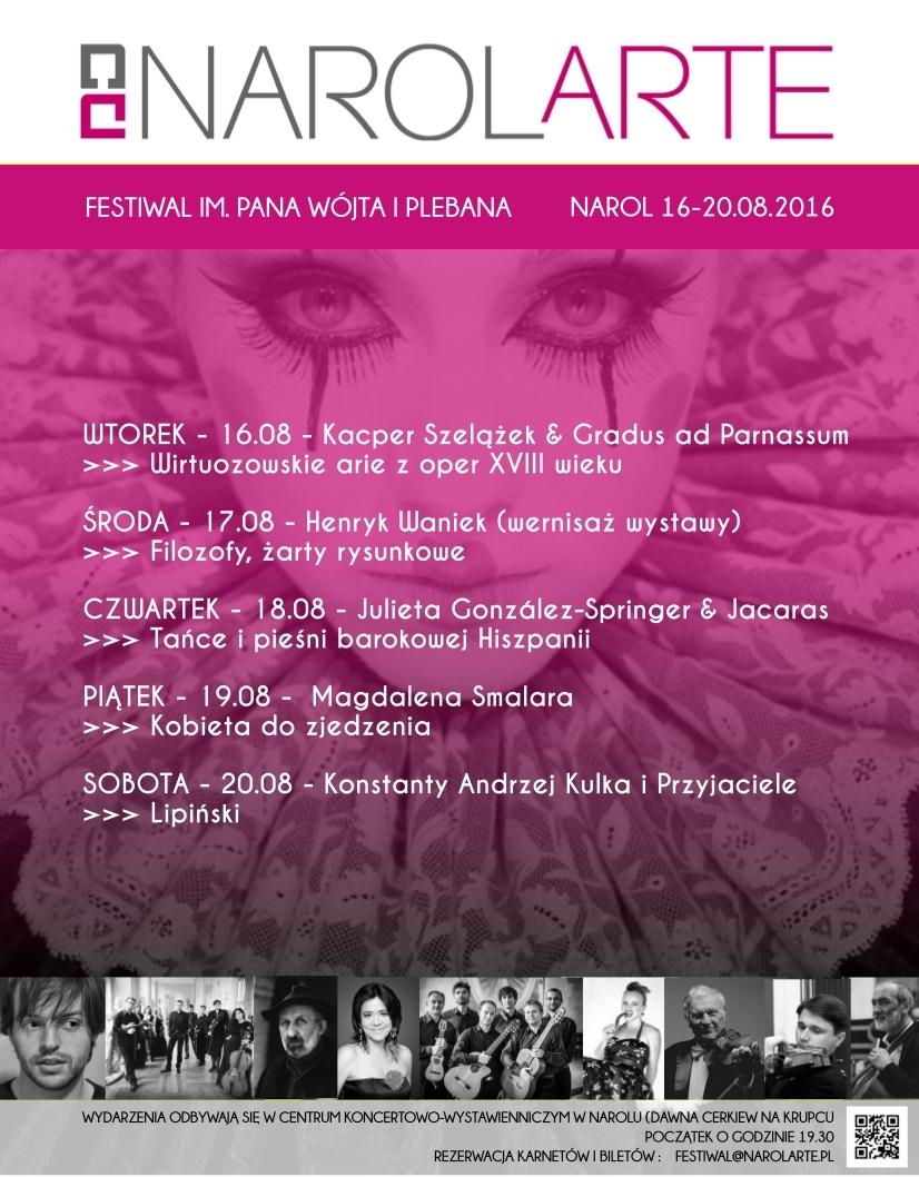 """VIII Festiwal Narolarte im. Pana, Wójta i Plebana"" – plakat (źródło: materiały prasowe organizatora)"