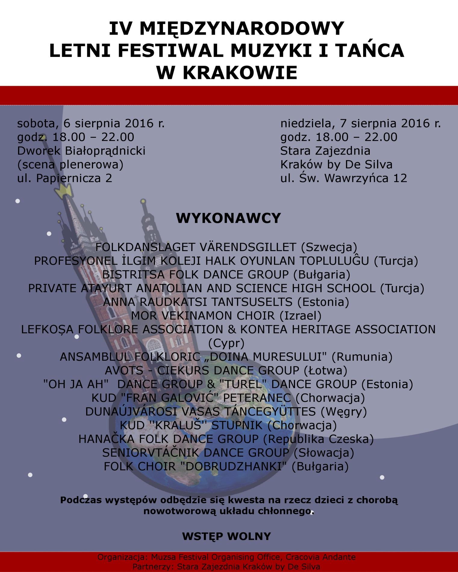 """""""IV Letni Festiwal Muzyki i Tańca"""" – plakat (źródło: materiały prasowe organizatora)"""