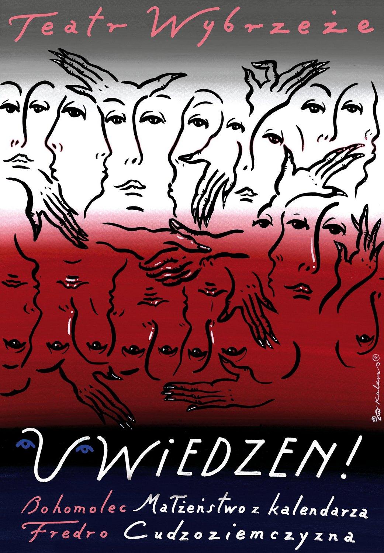 """""""Uwiedzeni Fredro: Cudoziemszczyzna/ Bohomolec: Małżeństwo z kalendarza"""" – plakat (źródło: materiały prasowe organizatora)"""