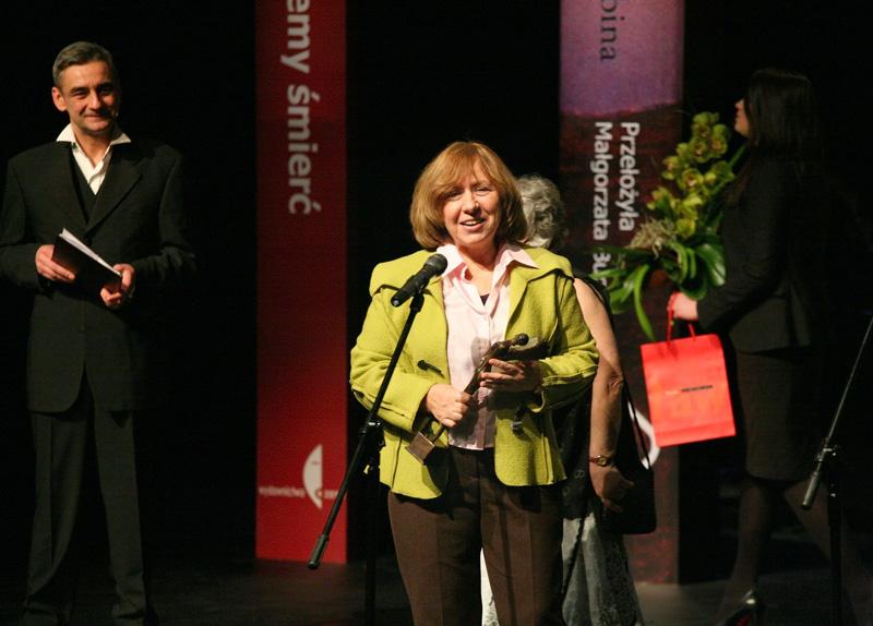 Swietłana Aleksijewicz z Nagrodą Angelus w 2011 roku (źródło: mat. pras. organizatora)
