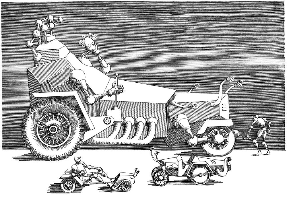 """Ilustracja Daniela Mroza, """"Cyberiada"""", 1972 (źródło: materiały prasowe organizatora)"""