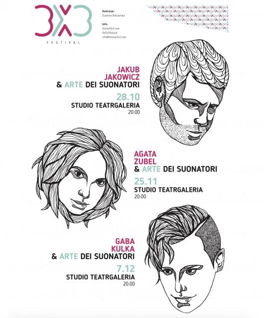 """""""Festiwal 3x3"""" – plakat (źródło: materiały prasowe organizatora)"""