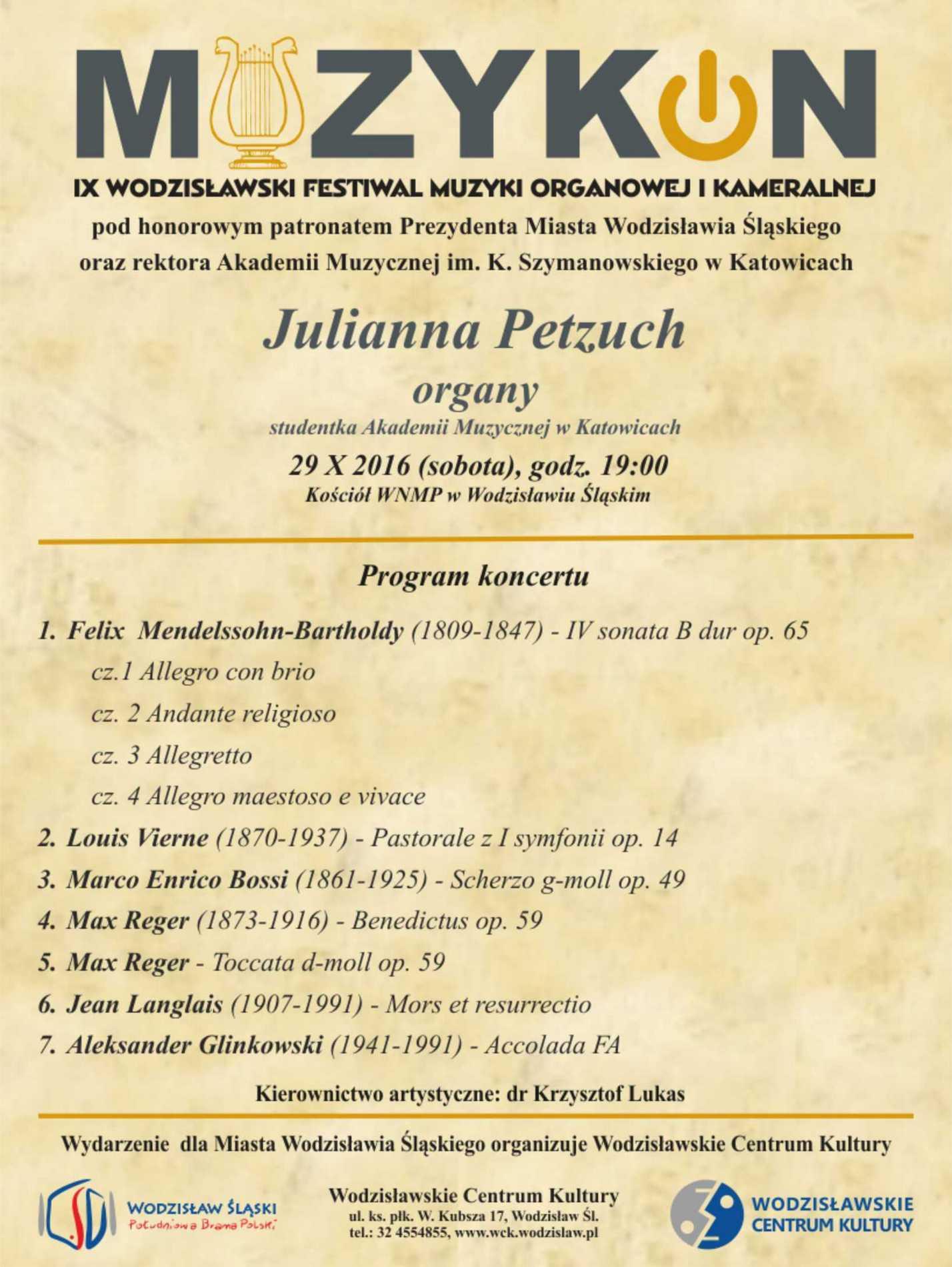 """""""Julianna Petzuch w ramach Muzykonu"""" – plakat (źródło: materiały prasowe organizatora)"""