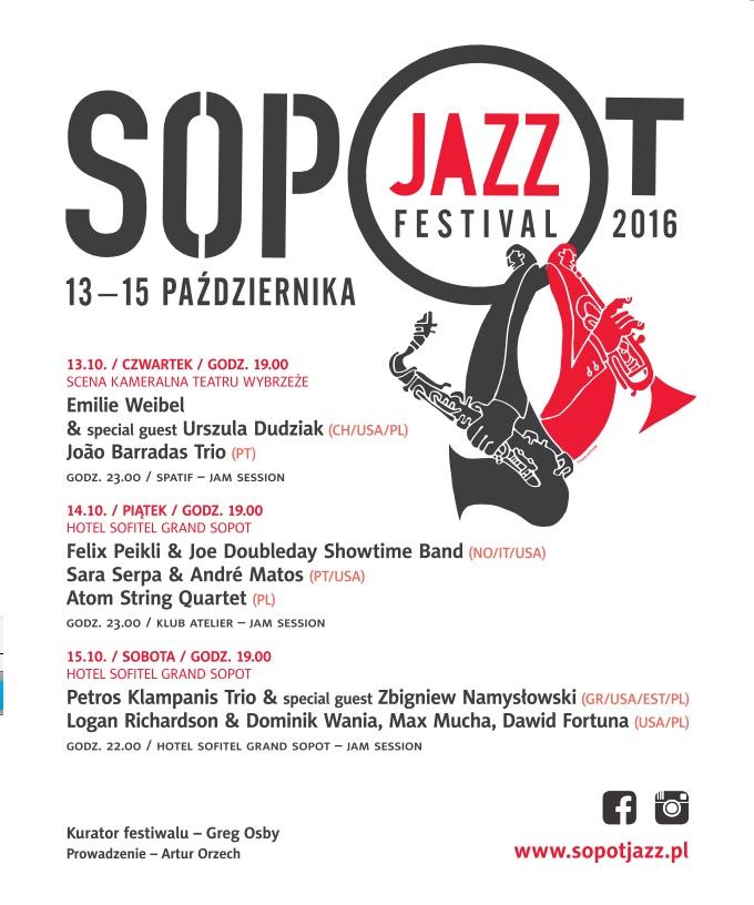 """""""Sopot Jazz Festival 2016"""" – plakat (źródło: materiały prasowe organizatora)"""