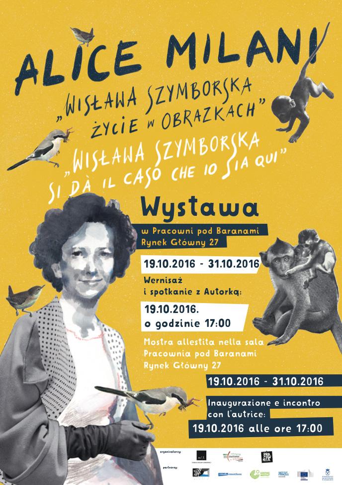 """Alice Milani,""""Wisława Szymborska. Życie w obrazkach"""", plakat (źródło: materiały prasowe organizatora)"""