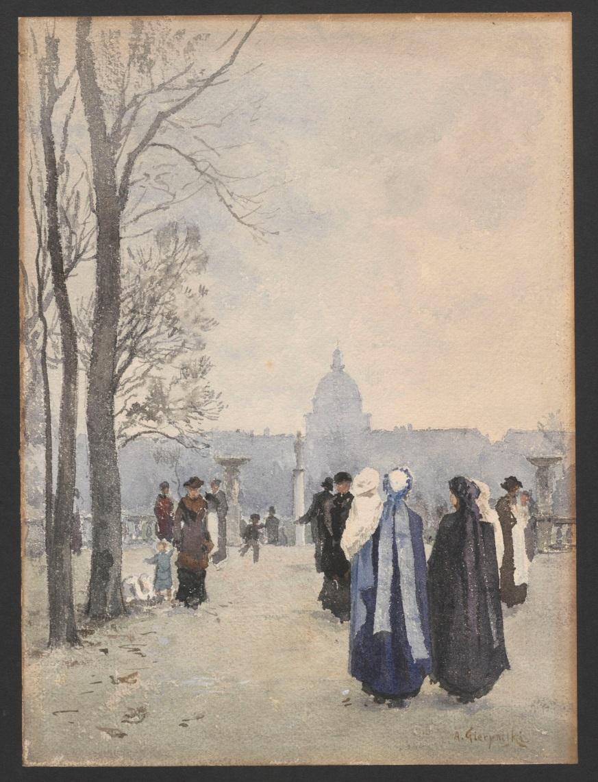 """Rys. Aleksander Gierymski, """"Przechadzka w parku"""", 1891–1893 (źródło: materiały prasowe organizatora)"""