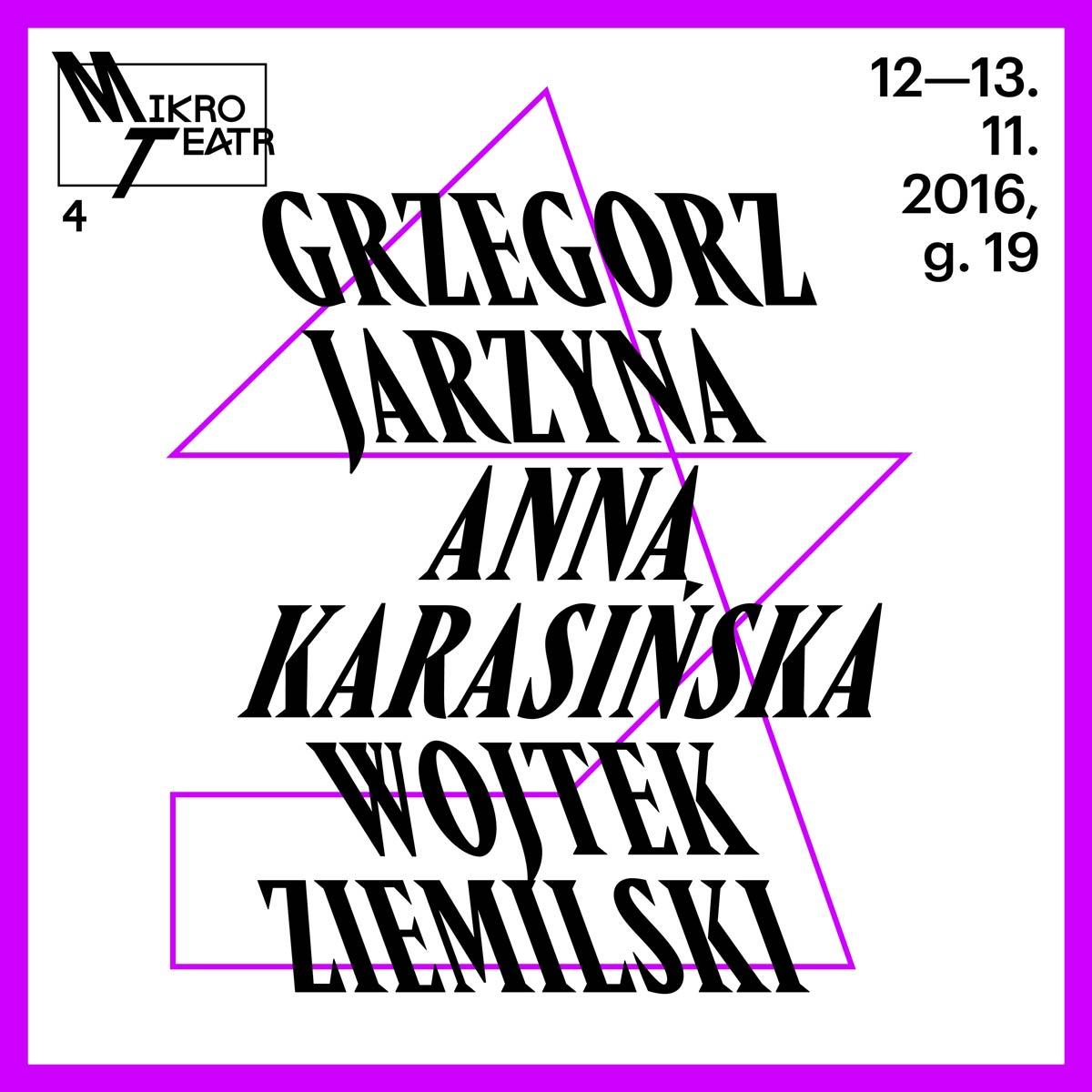 """""""Grzegorz Jarzyna, Anna Karasińska, Wojtek Ziemilski: Mikro Teatr"""" – plakat (źródło: materiały prasowe organizatora)"""