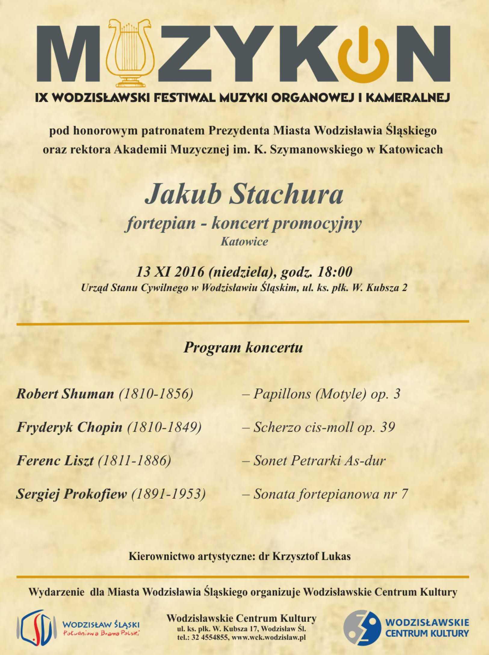 """""""Jakub Stachura. Muzykon"""" – plakat (źródło: materiały prasowe organizatora)"""