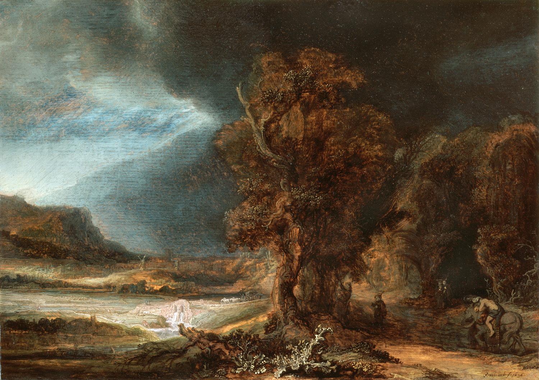 """Rembrandt, """"Pejzaż z miłosiernym Samarytaninem"""", 1638 (źródło: materiały prasowe MNK)"""