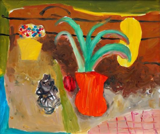 """Yolanta Nikt, """"Martwa natura z czerwonym wazonem"""", 2015 (źródło: materiały prasowe organizatora)"""