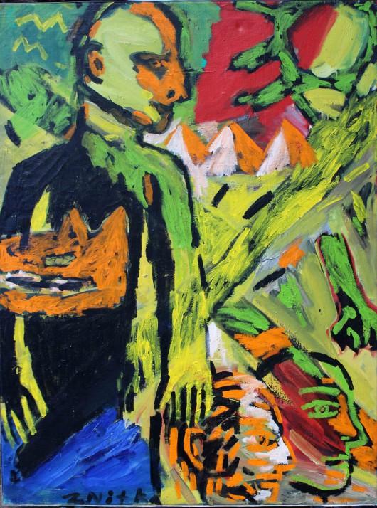 """Zdzisław Nitka, """"Mężczyźni, słońce, głowa wilka"""", 1987 (źródło: materiały prasowe organizatora)"""