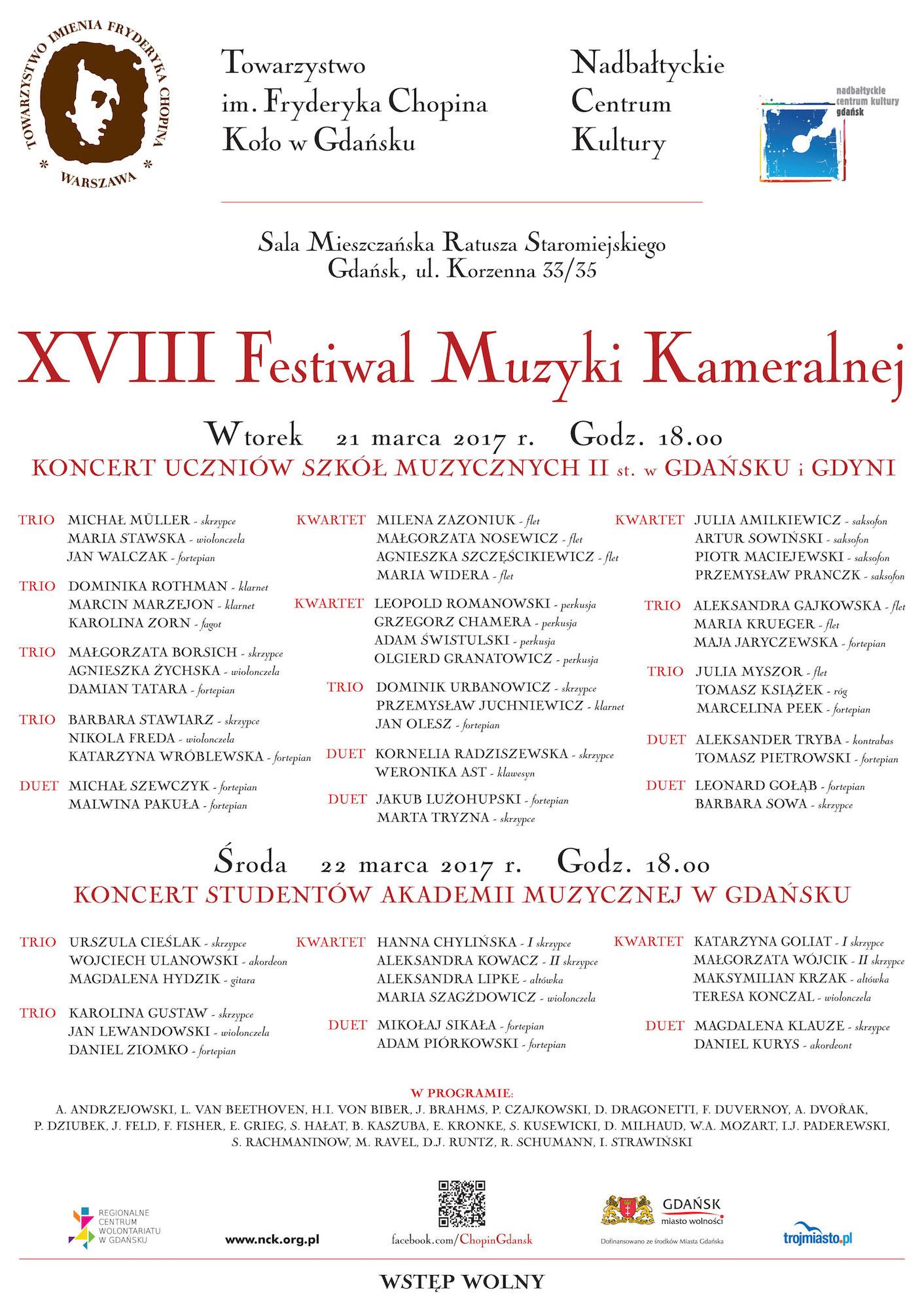 XVIII Festiwal Muzyki Kameralnej – plakat (źródło: materiały prasowe organizatora)