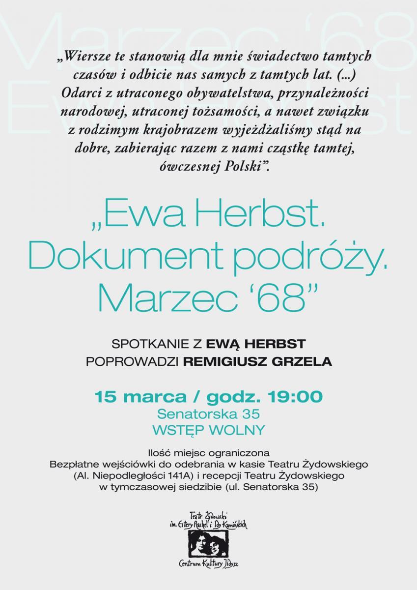"""Marzec '68. Premiera tomiku """"Dokument podróży. Wiersze"""" Ewy Herbst – plakat (źródło: materiały prasowe organizatora)"""