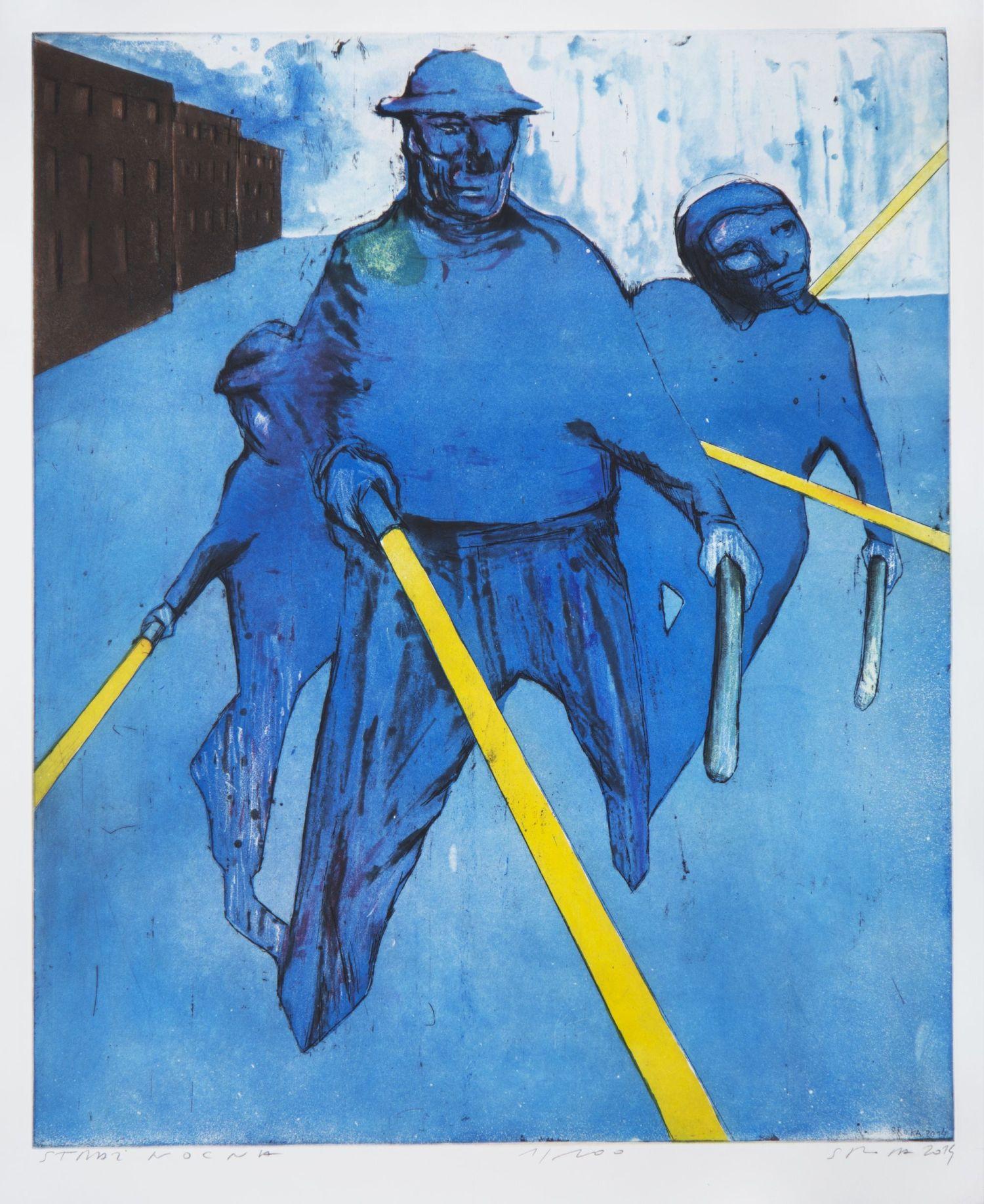 """Jacek Sroka, """"Straż nocna"""", akwaforta, akwatinta, 2014, własność artysty, fot. Janusz Kozina (źródło: materiały prasowe organizatora)"""