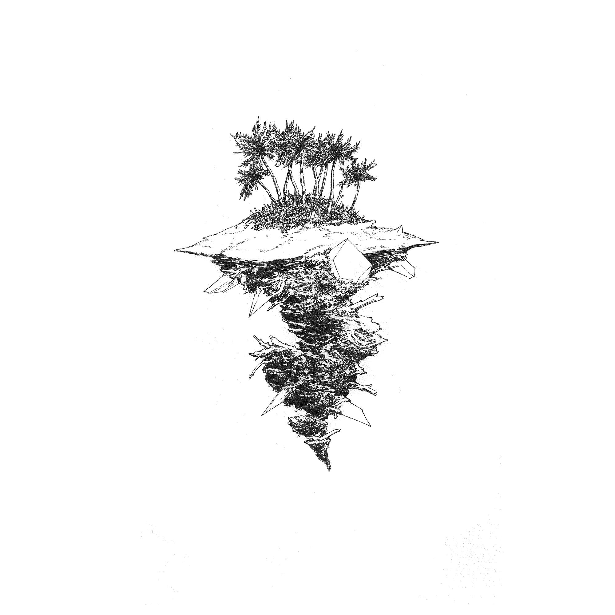 """Bartosz Zaskórski, """"Czarna plaża w moim sercu"""", 2016, tusz na papierze, 21×29,7 cm (źródło: materiały prasowe organizatora)"""