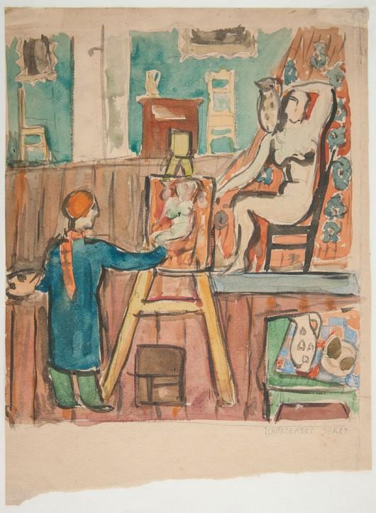"""Jerzy Tchórzewski, """"W pracowni"""", 1947-1950 (źródło: materiały prasowe organizatora)"""
